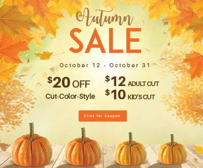 Grondin's Autumn Sale - $20 Off Cut-Color-Style, $12 Adult Cut, $10 Kids Cut